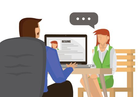 Job interview with boss looking on her resume on his computer. Employee human resources concept. Flat cartoon character vector illustration isolated on white background. 向量圖像
