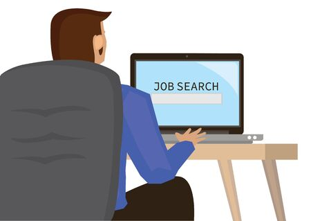 Man visiting job search career website. Recruitment Occupation Career Concept. Flat cartoon character vector illustration isolated on white background.