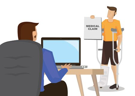 Patient showing his health insurance claim form in office. Medicare concept. Flat cartoon character vector illustration isolated on white background.