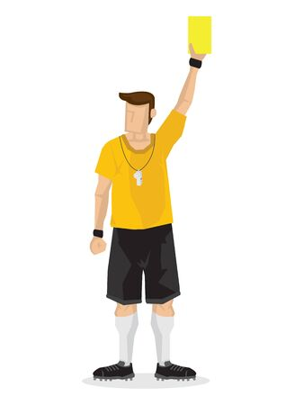 Soccer football referees give out a yellow card on white background. Flat design vector illustration Vetores