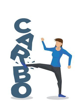 Woman breaking down Carbo for healthy diet. Concept of healthy lifestyle, diet, stop eating carbohydrates or lifestyle changes. Vector illustration.