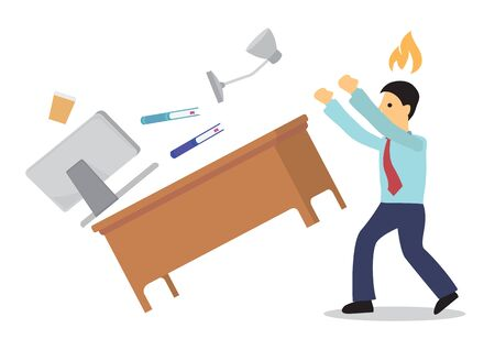 Angry businessman flips his working desk. Concept of bad anger management. Isolated vector illustration Vektorové ilustrace