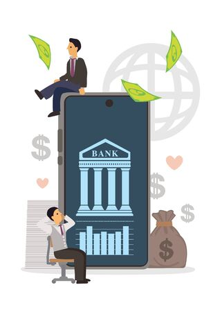 Mobile banking concept of business people using banking app for business online banking. Men standing near big smartphone. Flat cartoon character vector illustration.