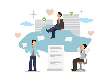 Businesspeople with Cloud Computing Concept. Cloud Computing online digital document storage system. Flat cartoon character vector illustration. 向量圖像