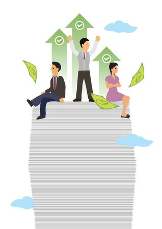 Businesspeople on top of documents. Concept of successful business, company profit growth or investment gain. Flat cartoon character vector illustration isolated on white.