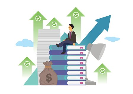 Businessman surround with books, documents, money and upward green arrows. Concept of successful business, company profit growth or investment gain. Flat cartoon character vector illustration isolated on white. 向量圖像
