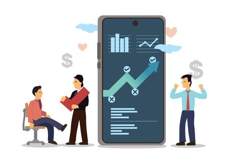 Businessmen using mobilephone analyzing sales data and economic growth graph chart. Business strategy, digital marketing or investment concept. Flat cartoon character vector illustration isolated on white.
