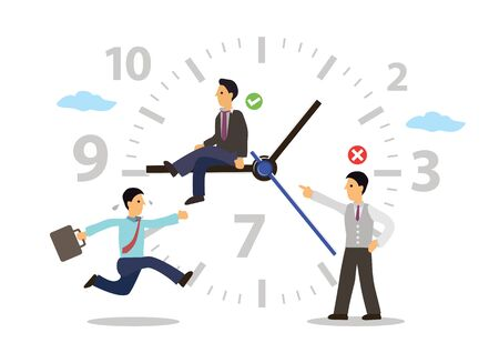 Time Management concept with businessmen running around a clock isolated on a white background.  Cartoon characters. Vector illustration.