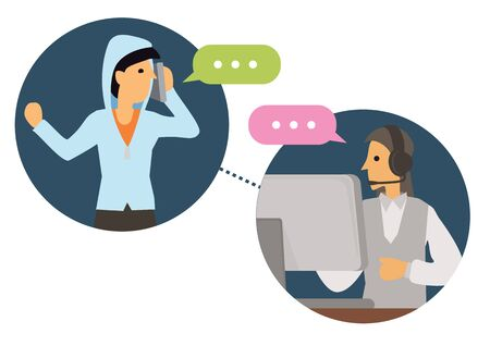 Female telemarketer or sales agent at workplace with headset at call center talking to customer. Helpline office, workday concept. Flat cartoon character vector illustration isolated on white background.