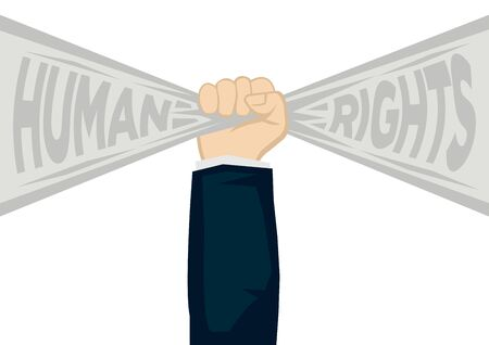 Hand fist holding a ribbon banner with text of human rights. Concept of human rights enforcement, liberty freedom or unity fighter. Flat vector illustration. 向量圖像