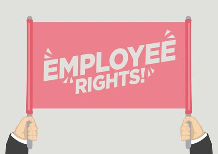 People raised hands and shouting with employee rights. Concept of revolution or protest. Illustration