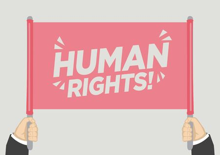 People raised hands and shouting with Human rights. Concept of revolution or protest. Vector illustration.
