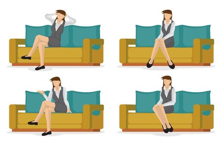 Set of full length business woman in various sitting positions