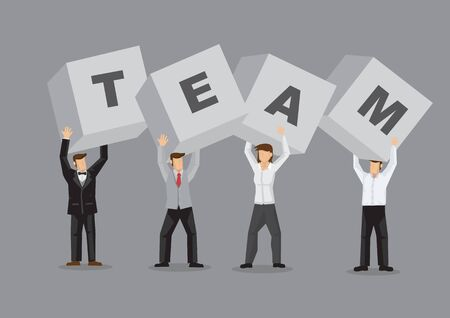 White-collar workers holding up letter blocks to form the word TEAM. Creative vector illustration for the concept on people from diverse background working as a team isolated on grey.