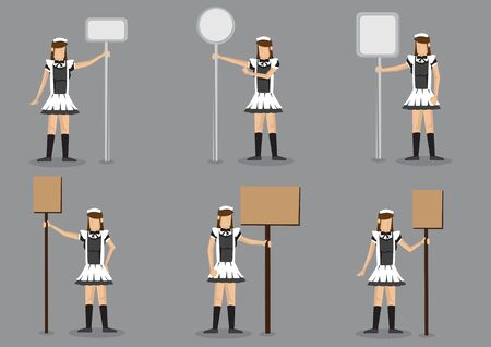 Set of six vector illustrations of girl in black and white french maid costume holding signboard with copy space on post isolated on grey background. 向量圖像