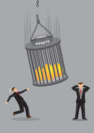 Businessmen running away from the fallen assets including golden eggs. Concept of crisis or bankruptcy problem. Flat isolated vector illustration.