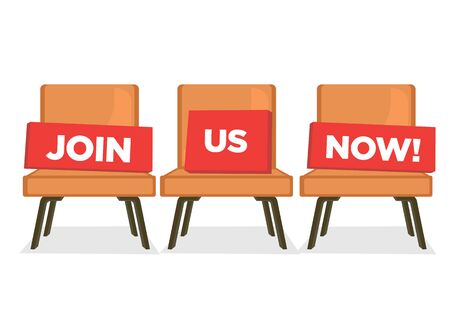 Three chairs with Join Us Now message. Hiring recruitment concept. Vector illustration.  向量圖像