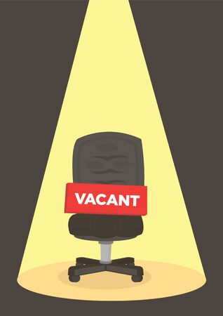 Office chair with a vacant sign under a spotlight. Business hiring and recruiting concept. Vector illustration. 向量圖像