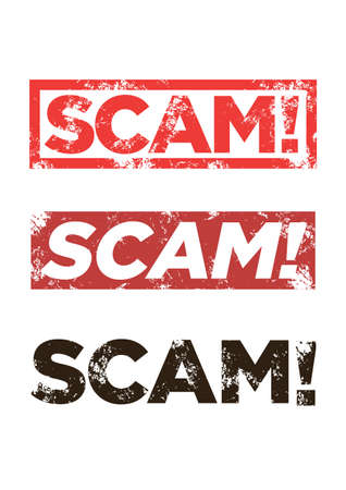 Set of three of Scam grunge red stamps. Scam square vector sign label isolated.
