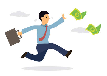 Businessman chasing money flying in the air. Cartoon character isolated on white background. Vector illustration