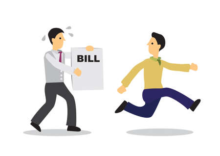 Businessman running away from a man with a bill. Business concept of escape or debt. Flat isolated vector illustration.