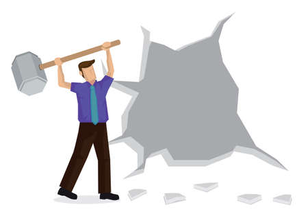 Vector Illustration of business man breaking down the wall. Concept of breaking though barrier to get freedom and achievement. Vettoriali