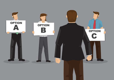 Vector cartoon illustration of a businessman asking for recomendation for his questions and get a lot of option to choose from. But he is unsure what to choose. Ilustrace