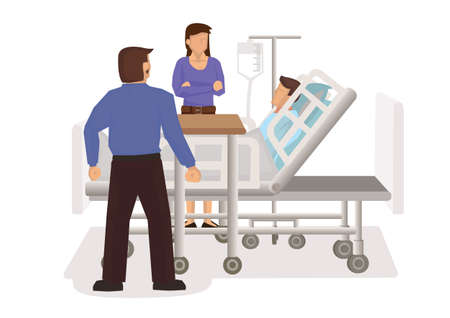 Friends visit a sick patient in hospital. Surgery recovery concept. Flat cartoon character vector illustration.