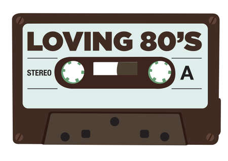 Cassette tape with the Loving 80s message. Isolated vector illustration