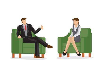 Employer praise employee/staff for their hard work. Concept of teamwork and appreciation. Vector cartoon illustration.