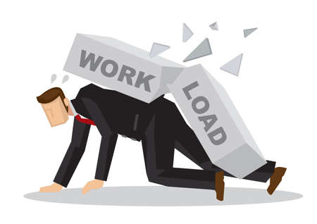 Businessman attack by a giant brick title workload. Business metaphor. Stress at work. Concept of overwork, overload, misfortune and corporate problem. Isolated vector illustration.