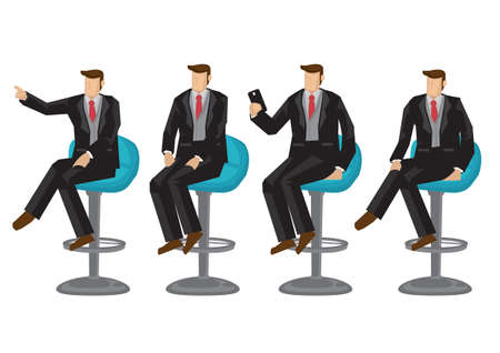 Set of business characters in four sitting positions. Vector illustration design.