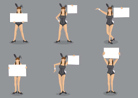 Set of six vector cartoon illustrations of young girl in black bunny costume and bunny ears holding a blank placard with copy space isolated on grey background.