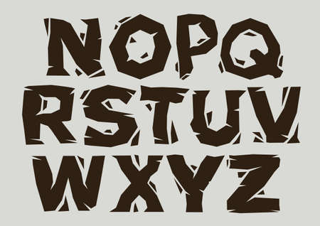 Stylized broken font and alphabet of N to Z. Vector illustration.