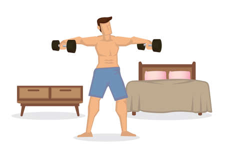 Strong fit man exercises with dumbbells at home in his spacious apartment. Fitness or healthy routine lifestyle concept. Vector illustration.