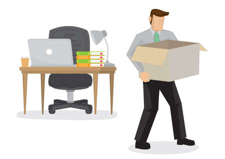 Employee packing his stuff and leaving his job. Concept of bad economy and crisis. Vector cartoon illustration.