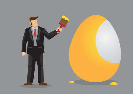 Businessman holding a paintbrush and painting an egg golden. Creative cartoon vector illustration for metaphor on creating a golden opportunity.