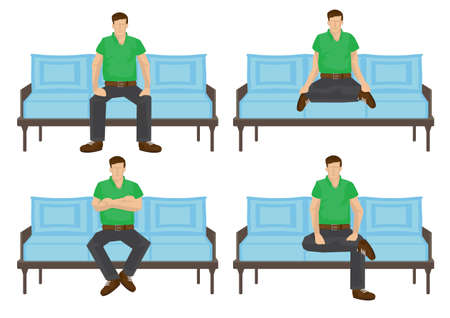Set of full length casual man in various sitting positions isolated on white background. Vector illustration design.