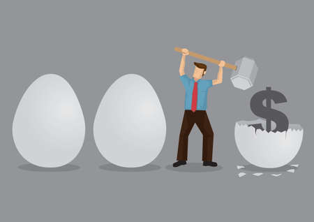 Cartoon man uses a hammer to break eggs to reveal a money symbol inside. Creative vector illustration on metaphor for breaking nest eggs.