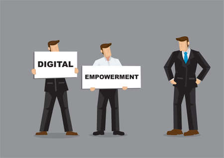 Concept illustration of a company staffs showing the boss the future direction of the company with Digital Empowerment on white board cards. Portray a concept of innovative future.