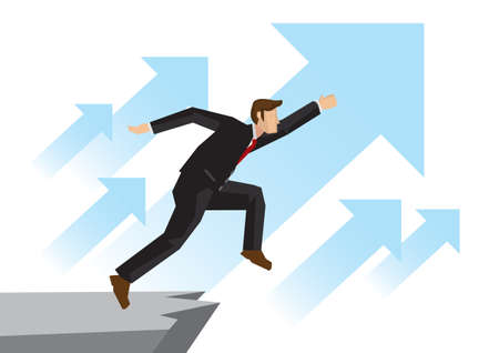 Business man running upward with flying blue arrows over the cliff. Concept of corporate growth, challenge or progress in his organisation. Isolated vector concept illustration.