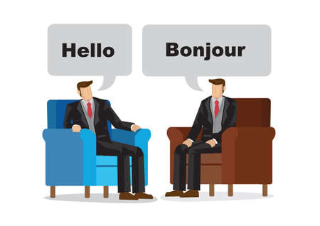 Business people talking in with different languages. Concept of different culture ethnicity. Vector illustration.