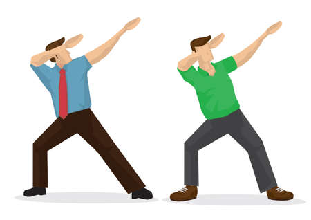 Illustration of two man doing a dab. Vector cartoon illustration.