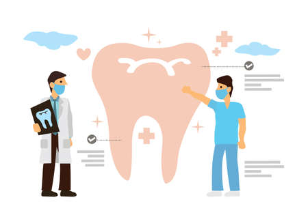Doctor Dentists work together in dental clinic with patient's teeth projection data. Dentistry examination concept. Flat cartoon character vector Illustration.