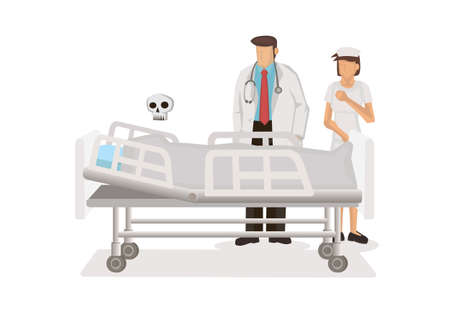 Doctor and Nurse sad that the patient in the hosiptal died. Flat vector illustration isolated on white background.