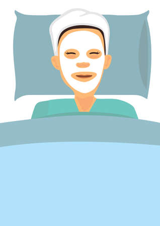 Woman with a cosmetic face mask. Smiling girl portrait. Flat Vector illustration isoalted.