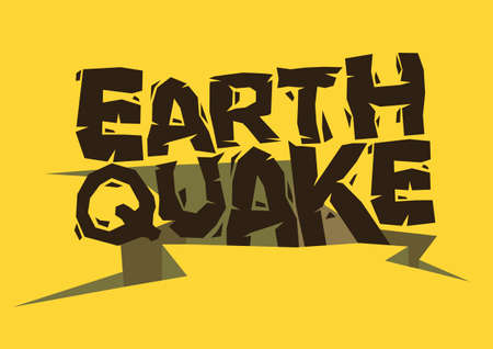 Typography design of Earthquake falling into the gap. Concept of natural catastrophe disaster. Vector illustration.