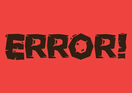 Error text against red background. Vector illustration. Vetores