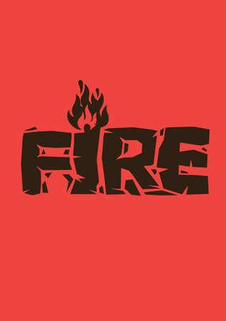 Fire font design in red background. Warning dangerous emergency sign. Vector illustration;