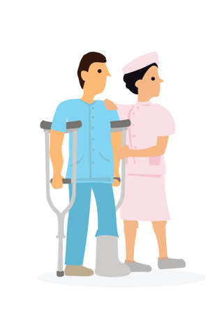 Young female nurse helping injured man in cast. Medicial care concept. Flat cartoon character vector illustration isolated on white background. Vector Illustration